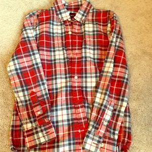 Gap kids holiday plaid button front shirt xl 12